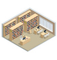 isometric bookshelves in library books in vector image vector image