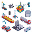 isometric oil petroleum industry icon set vector image vector image