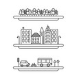linear landscape elements icons set vector image