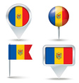 Map pins with flag of Moldova vector image vector image