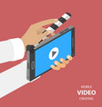 mobile video creating flat isometric vector image vector image