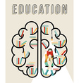 Modern education design of brain with books vector image vector image