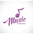 Music served concept icon with hand lettering vector image vector image