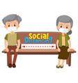 old couple cartoon character keeping social vector image vector image