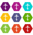 orthodox cross icons set 9 vector image