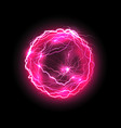 purple energy ball with lightings vector image vector image