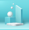 realistic marble podium and geometric shape vector image