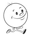 Running cartoon man with a big head vector image
