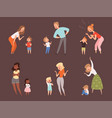 scold children kids crying parents father and vector image