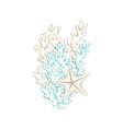 sea starfish and corals marine line art design vector image