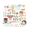 set cartoon children and spring elements vector image vector image