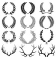 set laurel wreaths collection wreaths from vector image vector image