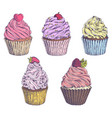 set of hand-drawn cupcakes template for vector image vector image