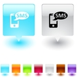 SMS square button vector image vector image