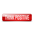 think positive red square 3d realistic isolated vector image vector image