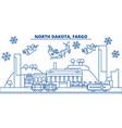 usa north dakota fargo winter city skyline vector image vector image