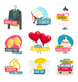 Wedding objects labels set collection of wedding vector image vector image