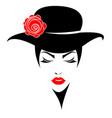 women short hair with a hat logo women face vector image vector image