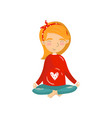 young woman sitting in lotus position and vector image vector image