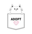 adopt me cute cat hands pocket pink heart cartoon vector image vector image