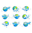 airlines air travel emblems or with plane vector image vector image