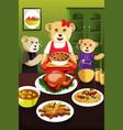 bear family having dinner vector image vector image
