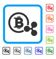 bitcoin and ripple framed icon vector image