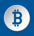 bitcoin currency symbol blue icon on white button vector image