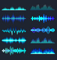 blue colorful sound waves collection analog vector image