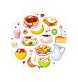 breakfast food circular shape fresh tasty vector image vector image
