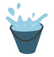 bucket with water splashes isolated icon vector image