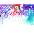 Butterflies on Watercolor vector image vector image