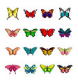 butterfly collection icons set cartoon style vector image