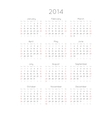 Calendar With Trendy Thin Font 2014 vector image vector image