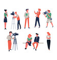 cameraman show hosts or reporter and tv show or vector image vector image
