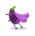 cartoon character of purple eggplant in classic vector image