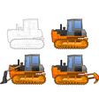 catterpillar tractor vector image vector image