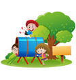 children crawling through the tube vector image vector image