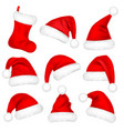 christmas santa claus hats with fur set sock new vector image vector image