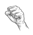 clenched fist raised up sketch vector image vector image