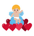 cute cupid sitting cloud hearts love valentine vector image