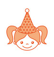 cute girl with party hat character icon vector image vector image
