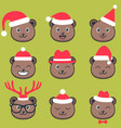 cute teddy bear faces with christmas hats vector image