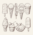 different ice creams with chocolate and lollipops vector image
