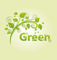 elegant green branch with leaves and text for vector image