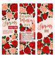 floral flowers roses banners for mother day vector image vector image
