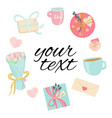 frame with love elements in pastel colors blue vector image vector image