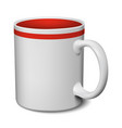 gray and red mug realistic 3d mockup on a white vector image vector image