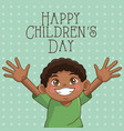 happy children day card cute afro boy hands up vector image vector image