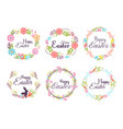 happy easter hand drawn badge hand lettering vector image vector image